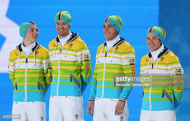 Silver medalists Eric Frenzel Bjoern Kircheisen Johannes Rydzek and Fabian Riessle of Germany celebrate during the medal ceremony for the Nordic...