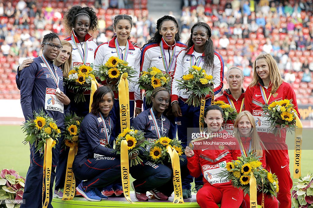 Silver medalists France, gold medalists Great Britain and Northern Ireland and bronze medalists Russia pose with their medals during the medal ceremony for the Women's 4x100 metres relay final during day six of the 22nd European Athletics Championships at Stadium Letzigrund on August 17, 2014 in Zurich, Switzerland.