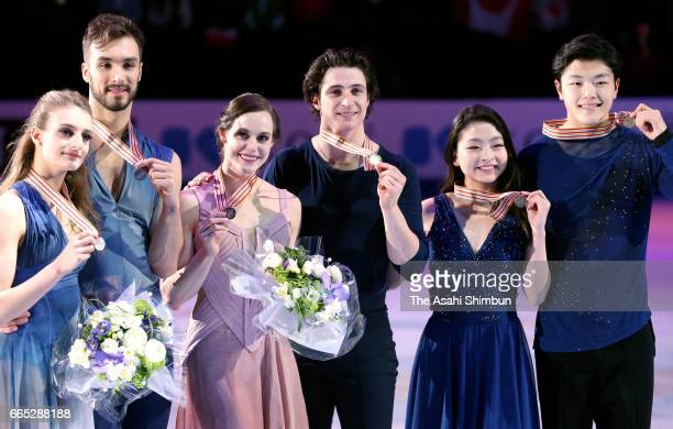 Silver medalists Gabriella Papadakis and Guillaume Cizeron of France Gold medalists Tessa Virtue and Scott Moir of Canada bronze medalists Maia...