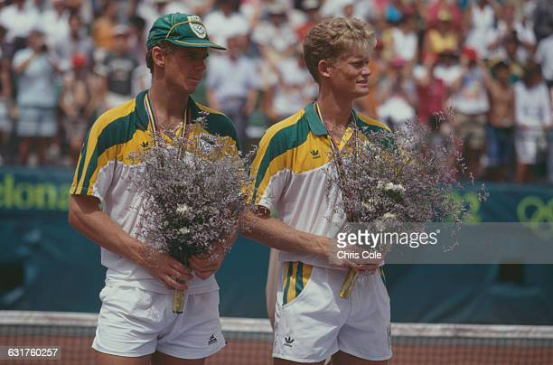 Silver medalists in the tennis Men's Doubles Piet Norval and Wayne Ferreira of South Africa at the final during the Olympic Games in Barcelona Spain...