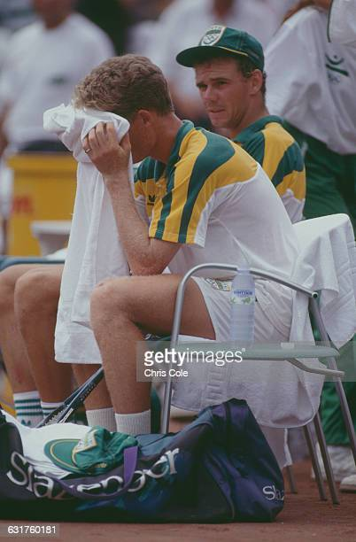 Silver medalists in the tennis Men's Doubles Wayne Ferreira and Piet Norval of South Africa at the final during the Olympic Games in Barcelona Spain...