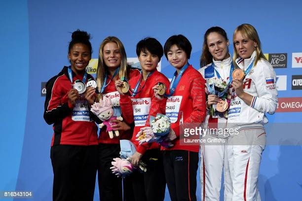Silver medalists Jennifer Abel and Melissa Citrini Beaulieu of Canada gold medalists Yani Chang and Tingmao Shi of China and bronze medalists...