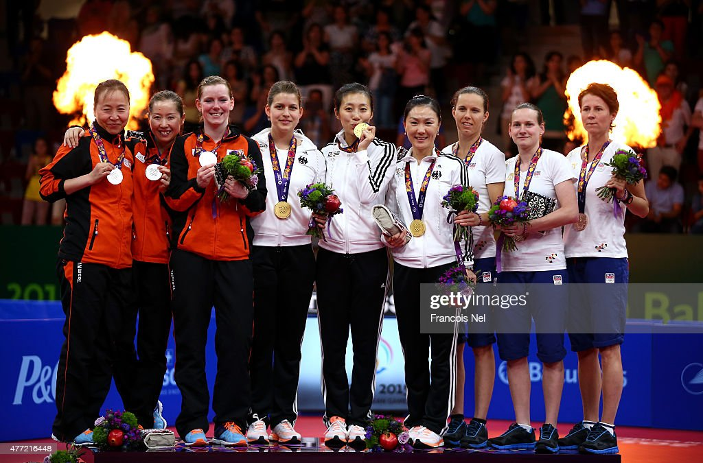 Silver medalists Jiao Li, Jie Li and Britt Eerland of Netherlands, gold medalists <a gi-track='captionPersonalityLinkClicked' href=/galleries/search?phrase=Petrissa+Solja&family=editorial&specificpeople=9866921 ng-click='$event.stopPropagation()'>Petrissa Solja</a>, Han Ying and Xiaona Shan of Germany and bronze medalists of Czech Republic pose with the medals won in the Women's Team Table Tennis finals during day three of the Baku 2015 European Games at Baku Sports Hall on June 15, 2015 in Baku, Azerbaijan.