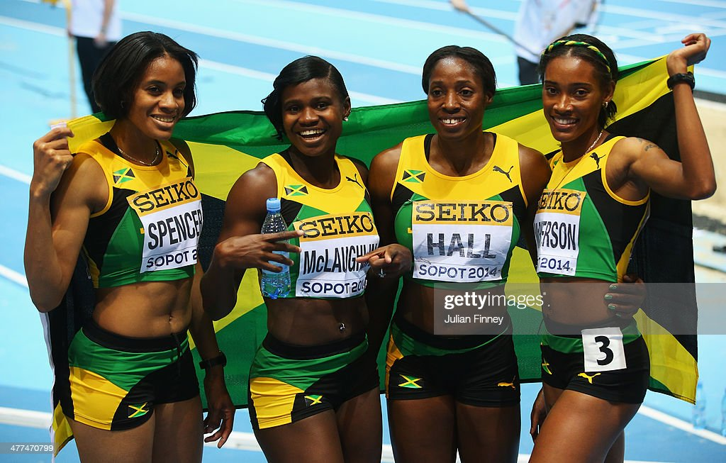 Silver medalists <a gi-track='captionPersonalityLinkClicked' href=/galleries/search?phrase=Kaliese+Spencer&family=editorial&specificpeople=2132769 ng-click='$event.stopPropagation()'>Kaliese Spencer</a>, Anneisha McLaughlin, Patricia Hall and Stephenie Ann McPherson of Jamaica pose after the Women's 4x400m relay final during day three of the IAAF World Indoor Championships at Ergo Arena on March 9, 2014 in Sopot, Poland.