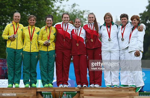 Silver medalists Kelsey Cotterell Karen Murphy and Lynsey Clarke of Australia gold medalists Sian Gordon Ellen Falkner and Sophie Tolchard of England...