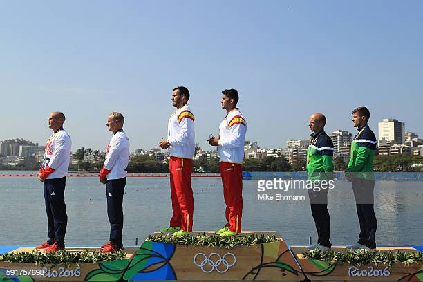 Silver medalists Liam Heath and Jon Schofield of Great Britain gold medalists Saul Craviotto and Cristian Toro of Spain and bronze medalist Aurimas...