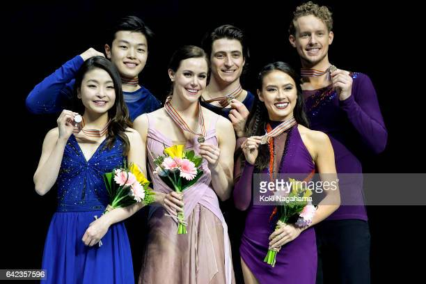 Silver medalists Maia Shibutani and Alex Shibutani of United States and Gold medalists Tessa Virtue and Scott Moir of Canada and Bronz medlists...