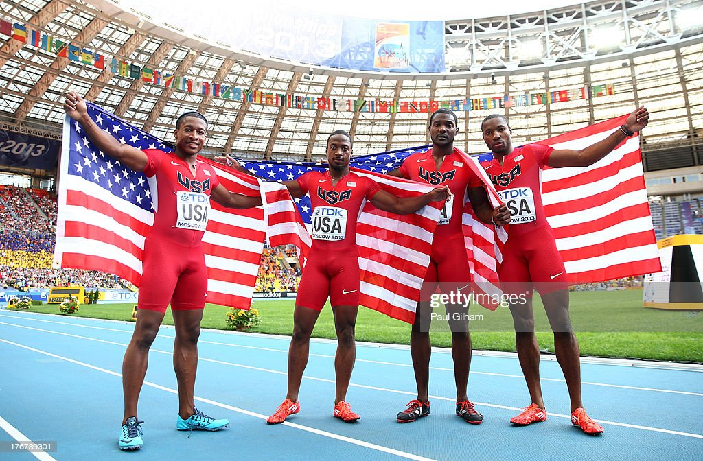 Silver medalists (L-R) Mike Rodgers, Charles Silmon, <a gi-track='captionPersonalityLinkClicked' href=/galleries/search?phrase=Justin+Gatlin+-+Athlete&family=editorial&specificpeople=162752 ng-click='$event.stopPropagation()'>Justin Gatlin</a> and <a gi-track='captionPersonalityLinkClicked' href=/galleries/search?phrase=Rakieem+Salaam&family=editorial&specificpeople=7891770 ng-click='$event.stopPropagation()'>Rakieem Salaam</a> of the United States pose after the competes in the Men's 4x100 metres final during Day Nine of the 14th IAAF World Athletics Championships Moscow 2013 at Luzhniki Stadium on August 18, 2013 in Moscow, Russia.