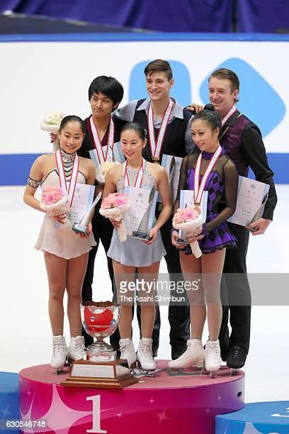 Silver medalists Miu Suzaki and Ryuichi Kihara gold medalists Sumire Suto and Francis BoudereauAudet bronze medalists Marin Ono and Wesley Killing...