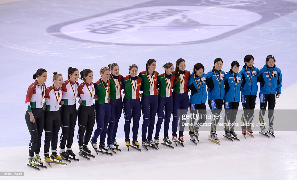 Silver medalists of Hungary (L-R), gold medalists of Italy and bronze medalists of Japan pose during the Ladies 3000 M Relay medal ceremony during day two of the ISU World Cup Short Track Speed Skating at EnergieVerbund Arena on February 7, 2016 in Dresden, Germany.