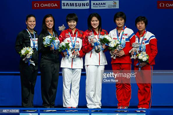 Silver medalists Roseline Filion and Meaghan Benfeito of Canada Gold medalists Huixia Liu and Ruolin Chen of China and bronze medalists Un Hyang Kim...
