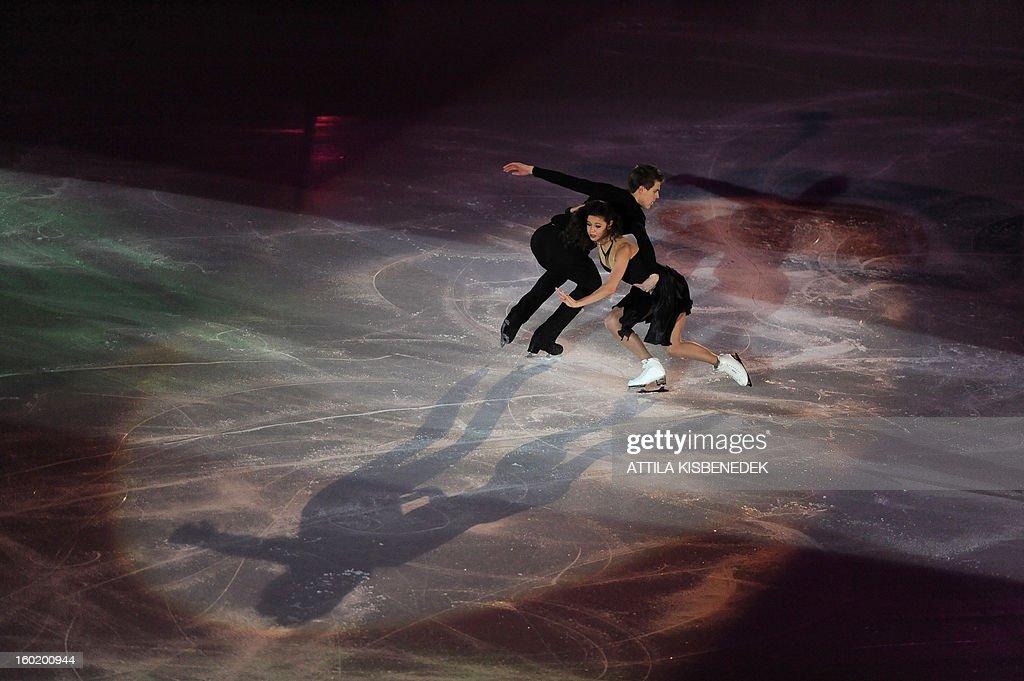 Silver medalists Russians Elena Ilinykh and Nikita Katsalopov perform on ice of 'Dom Sportova' sports hall in Zagreb on January 27, 2013 during the gala of the ISU European Figure Skating Championships.