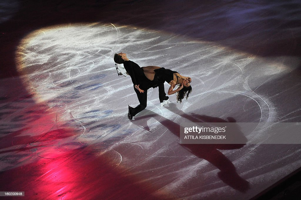 Silver medalists Russians Elena Ilinykh and Nikita Katsalopov perform on ice at the 'Dom Sportova' sports hall in Zagreb on January 27, 2013 during the gala of the ISU European Figure Skating Championships.