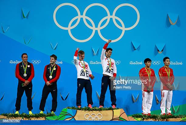 Silver medalists Sam Dorman and Mike Hixon of the United States Gold medalists Jack Laugher and Chris Mears of Great Britain and bronze medalists...