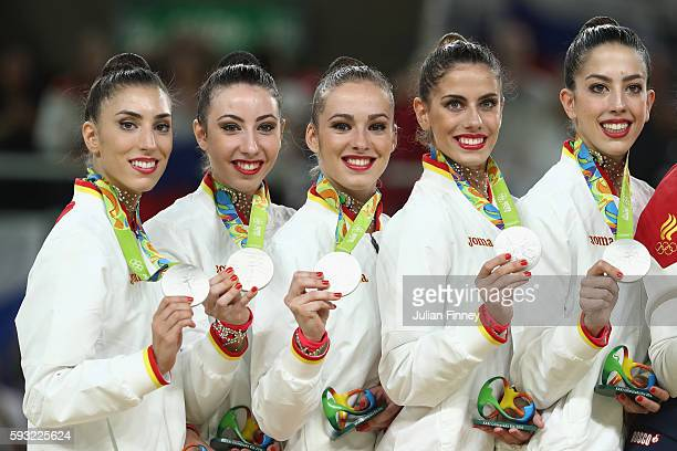 Silver medalists Sandra Aguilar Artemi Gavezou Elena Lopez Lourdes Mohedano and Alejandra Quereda of Spain celebrate during the medal ceremony...
