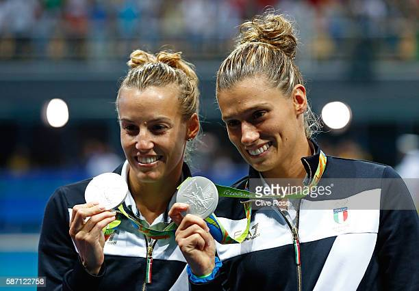 Silver medalists Tania Cagnotto and Francesca Dallape of Italy pose on the podium during the medal ceremony for the Women's Diving Synchronised 3m...