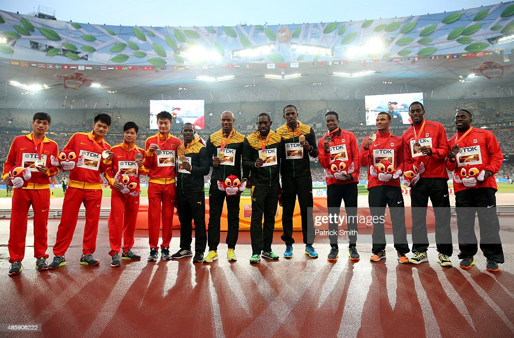 Silver medalists Team China, gold medalists Team Jamaica and bronze medalists Team Canada pose on the podium during the medal ceremony for the Men's 4x100 Metres Relay final during day nine of the 15th IAAF World Athletics Championships Beijing 2015 at Beijing National Stadium on August 30, 2015 in Beijing, China.