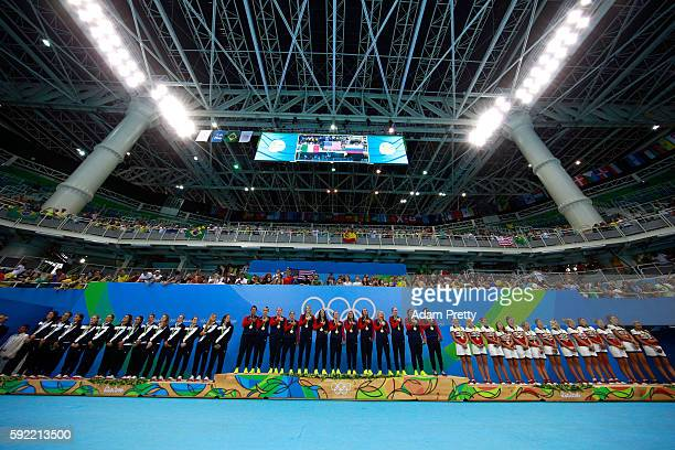 Silver medalists Team Italy Gold medalists Team United States and Bronze medalists Team Russia pose on the podium during the medal ceremony for the...