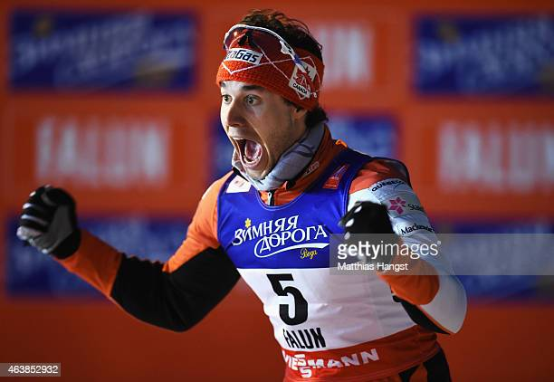 Silver medallist Alex Harvey of Canada celebrates after the Men's CrossCountry Sprint Final during the FIS Nordic World Ski Championships at the...