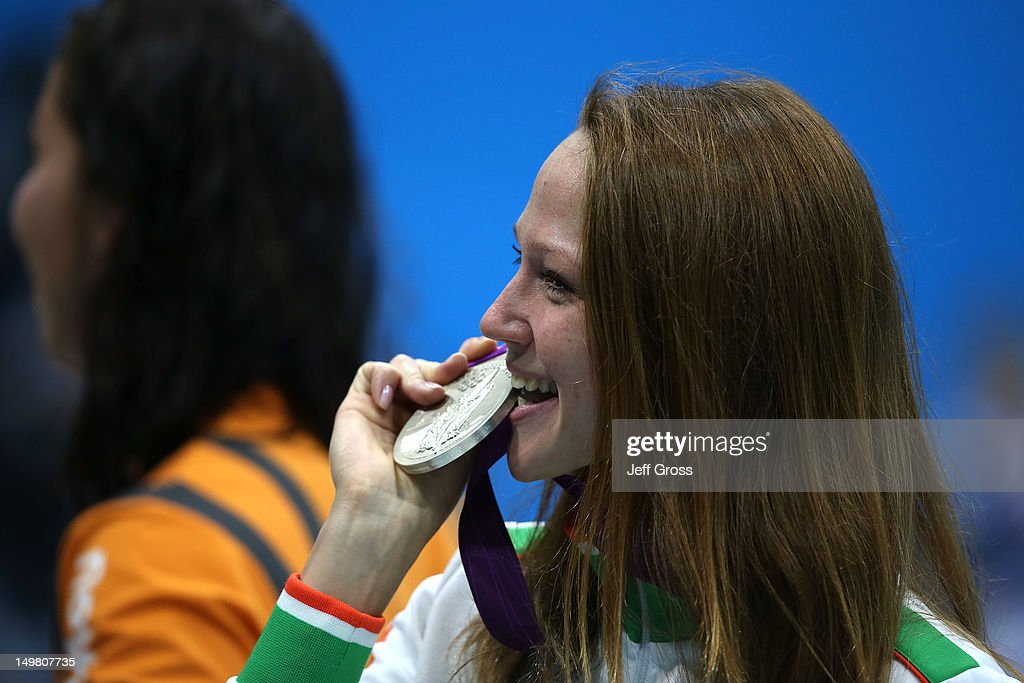 Silver medallist <a gi-track='captionPersonalityLinkClicked' href=/galleries/search?phrase=Aliaksandra+Herasimenia&family=editorial&specificpeople=2077479 ng-click='$event.stopPropagation()'>Aliaksandra Herasimenia</a> of Belarus poses following the medal ceremony for the Women's 50m Freestyle Final on Day 8 of the London 2012 Olympic Games at the Aquatics Centre on August 4, 2012 in London, England.