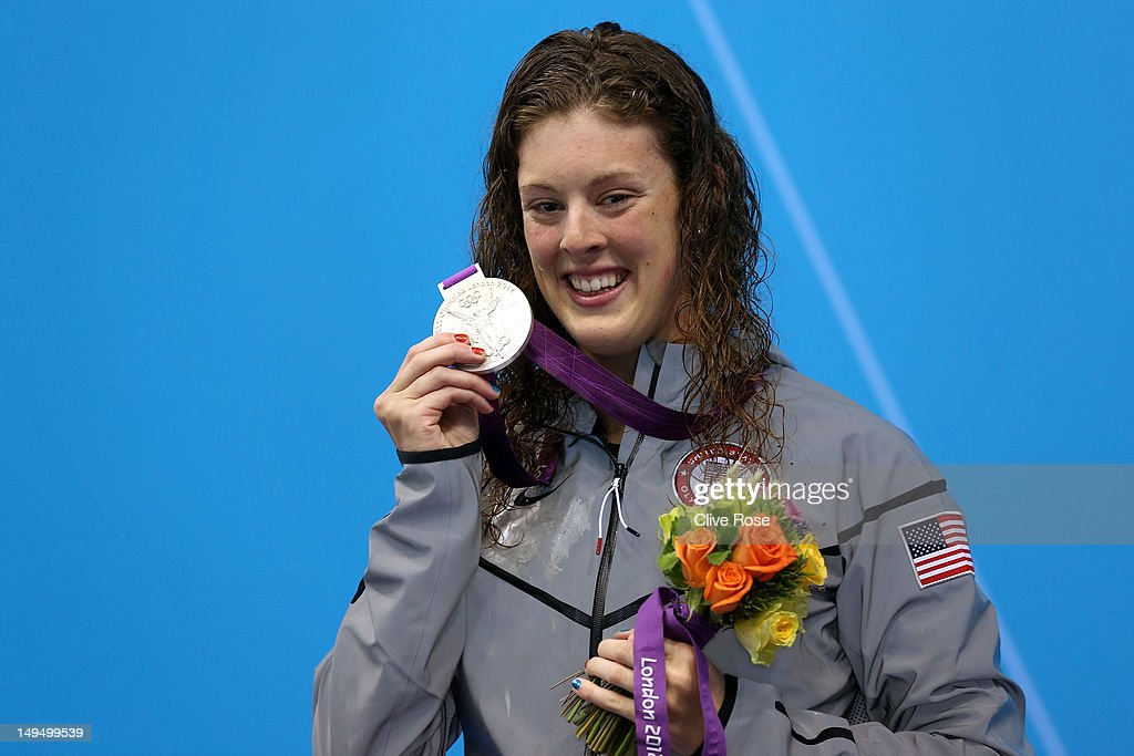 Silver medallist <a gi-track='captionPersonalityLinkClicked' href=/galleries/search?phrase=Allison+Schmitt+-+Swimmer&family=editorial&specificpeople=4443033 ng-click='$event.stopPropagation()'>Allison Schmitt</a> of the United States poses on the podium during the medal ceremony following the Women's 400m Freestyle final on Day 2 of the London 2012 Olympic Games at the Aquatics Centre on July 29, 2012 in London, England.