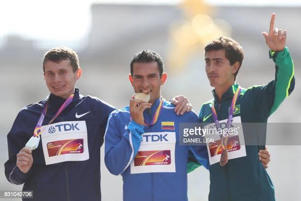 Silver medallist Authorised Neutral Athlete Sergei Shirobokov gold medallist Colombia's Eider Arévalo and bronze medallist Brazil's Caio Bonfim pose...