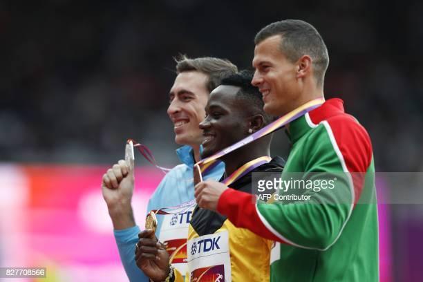 Silver medallist Authorised Neutral Athlete Sergey Shubenkov gold medallist Jamaica's Omar Mcleod and bronze medallist Hungary's Balázs Baji pose on...
