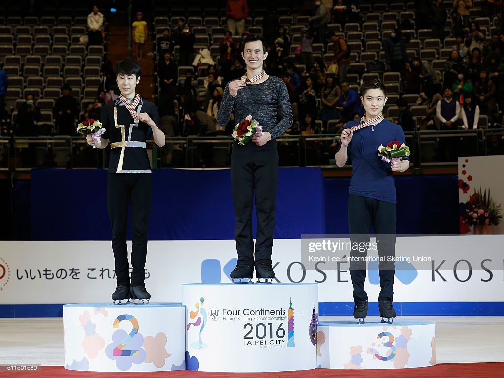 Silver medallist <a gi-track='captionPersonalityLinkClicked' href=/galleries/search?phrase=Boyang+Jin&family=editorial&specificpeople=10521562 ng-click='$event.stopPropagation()'>Boyang Jin</a> of China, Gold medallist <a gi-track='captionPersonalityLinkClicked' href=/galleries/search?phrase=Patrick+Chan&family=editorial&specificpeople=4036503 ng-click='$event.stopPropagation()'>Patrick Chan</a> of Canada, and Bronze medallist Han Yan of China pose for a picture on the podium of the Men's Figure Skating on day four of the ISU Four Continents Figure Skating Championships 2016 at Taipei Arena on February 21, 2016 in Taipei City, Taiwan.