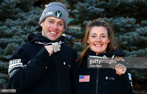 Silver medallist Bradley Wilson and bronze medallist Jaelin Kauf of the United States pose after the Dual Moguls on day two of the FIS Freestyle Ski...
