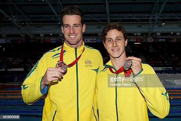 Silver medallist Cameron McEvoy of Australia and bronze medallist James Magnussen of Australia pose after the medal ceremony for the Men's 50m...