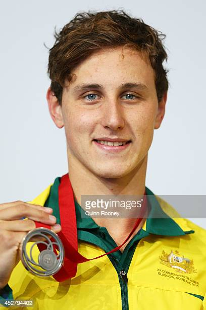 Silver medallist Cameron McEvoy of Australia poses during the medal ceremony for the Men's 100m Freestyle Final at Tollcross International Swimming...