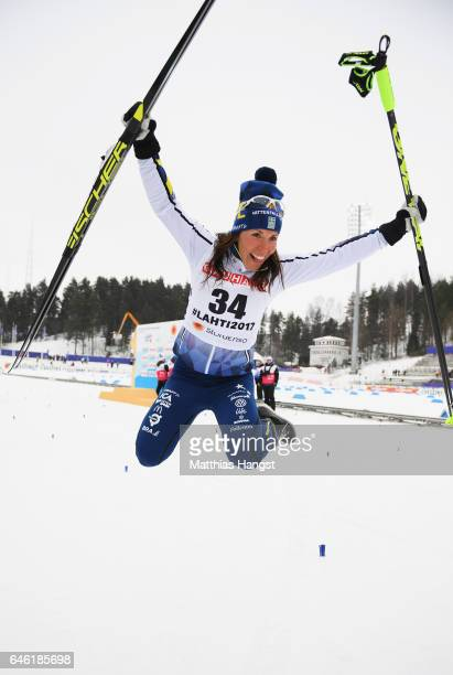 Silver medallist Charlotte Kalla of Sweden celebrates after the Women's 10km Cross Country during the FIS Nordic World Ski Championships on February...