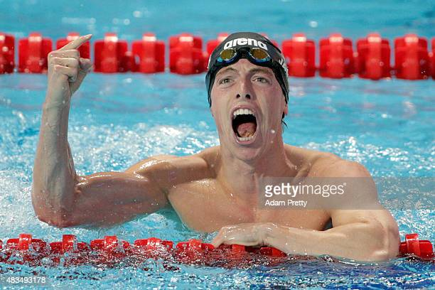 Silver medallist Connor Jaeger of the United States celebrates in the Men's 1500m Freestyle Final on day sixteen of the 16th FINA World Championships...