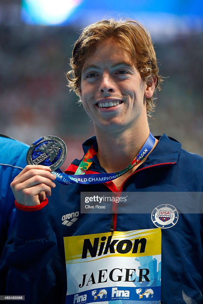 Silver medallist <a gi-track='captionPersonalityLinkClicked' href=/galleries/search?phrase=Connor+Jaeger&family=editorial&specificpeople=9496555 ng-click='$event.stopPropagation()'>Connor Jaeger</a> of the United States poses during the medal ceremony for the Men's 1500m Freestyle Final on day sixteen of the 16th FINA World Championships at the Kazan Arena on August 9, 2015 in Kazan, Russia.