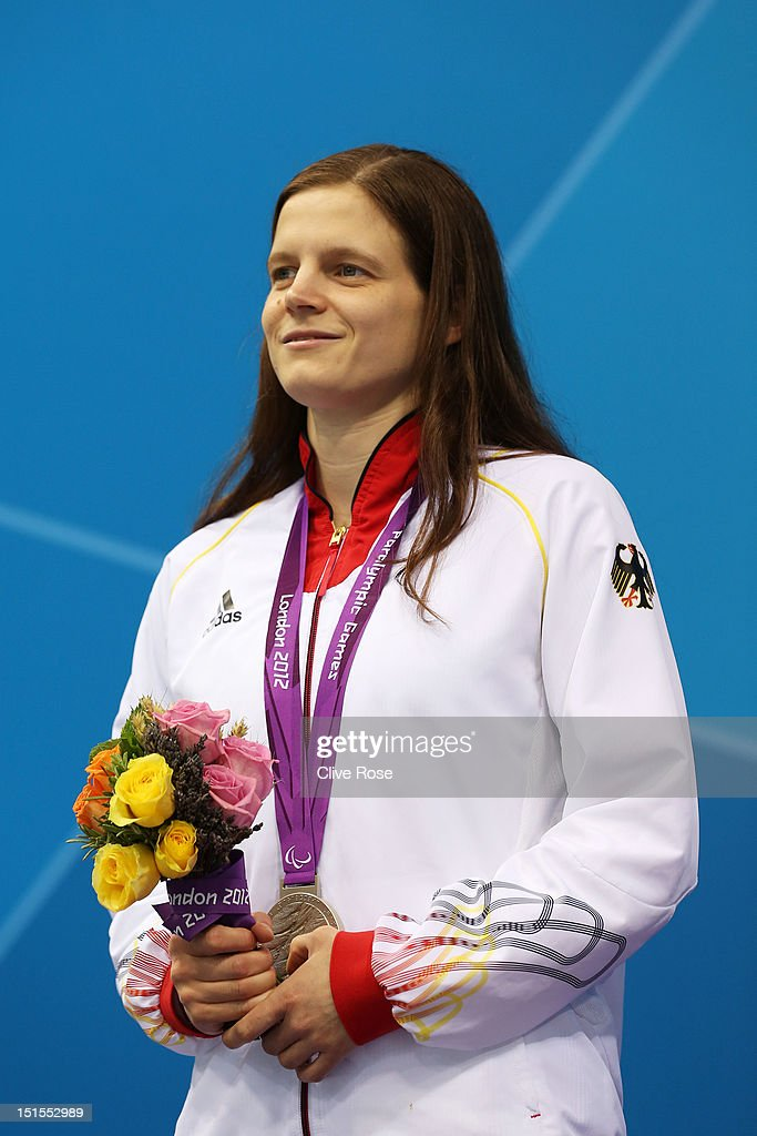 Silver medallist Daniela Schulte of Germany poses on the podium during the medal ceremony for the Women's 200m Individual Medley - SM11 final on day 10 of the London 2012 Paralympic Games at Aquatics Centre on September 8, 2012 in London, England.