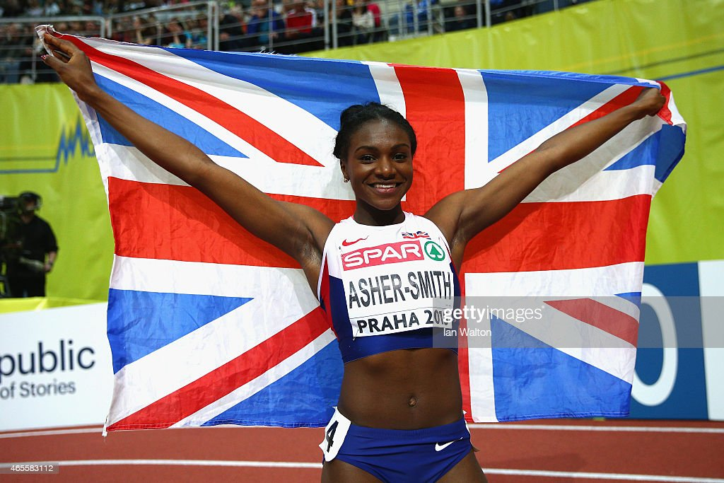 Silver medallist Dina AsherSmith of Great Britain Northern Ireland celebrates after the Women's 60 metres Final during day three of the 2015 European...