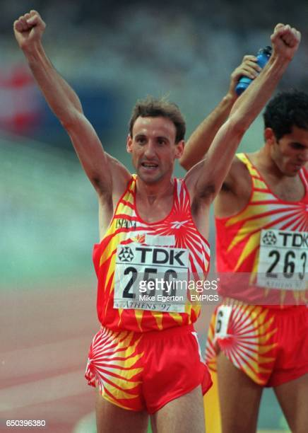 Silver medallist Fermin Cacho of Spain celebrates