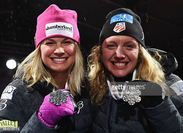 Silver medallist Jessica Diggins of USA and bronze medallist Caitlin Gregg of USA pose during the medal ceremony for the Women's 10km CrossCountry...