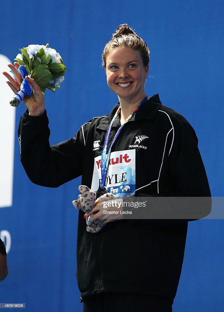 Silver medallist Lauren Boyle of New Zealand celebrates during the medal ceremony for the Women's 1500m Freestyle Final on day eleven of the 16th...