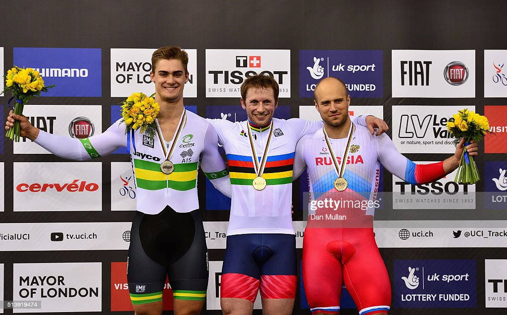 Silver Medallist, <a gi-track='captionPersonalityLinkClicked' href=/galleries/search?phrase=Matthew+Glaetzer&family=editorial&specificpeople=7592507 ng-click='$event.stopPropagation()'>Matthew Glaetzer</a> of Australia, Gold Medallist <a gi-track='captionPersonalityLinkClicked' href=/galleries/search?phrase=Jason+Kenny&family=editorial&specificpeople=4167086 ng-click='$event.stopPropagation()'>Jason Kenny</a> of Great Britain and Bronze Medallist <a gi-track='captionPersonalityLinkClicked' href=/galleries/search?phrase=Denis+Dmitriev&family=editorial&specificpeople=5492378 ng-click='$event.stopPropagation()'>Denis Dmitriev</a> of Russia pose on the medal podium following the Men's Sprint Finals during Day Four of the UCI Track Cycling World Championships at Lee Valley Velopark Velodrome on March 5, 2016 in London, England.