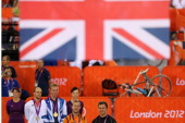 Silver medallist Maximilian Levy of Germany Gold medallist Sir Chris Hoy of Great Britain and joint Bronze medallists Teun Mulder of the Netherlands...