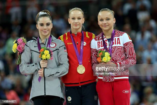 Silver medallist Mc Kayla Maroney of the United States gold medallist Sandra Raluca Izbasa of Romania and bronze medallist Maria Paseka of Russia...