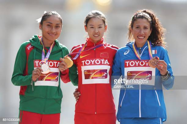 Silver medallist Mexico's Maria Guadalupe Gonzalez gold medallist China's Yang Jiayu and bronze medallist Italy's Antonella Palmisano pose on the...