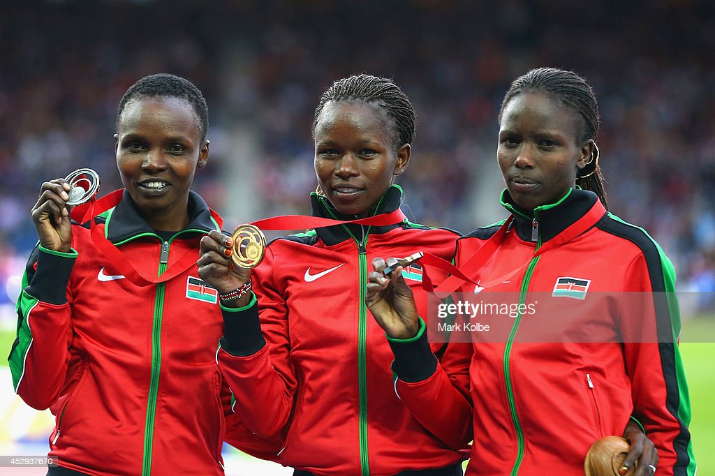 Silver medallist Milcah Cheywa of Kenya, gold medallist Purity Kirui of Kenya and bronze medallist Joan Kipkemoi of Kenya pose on the podium during the medal ceremony for the Women's 3000 metres Steeplechase at Hampden Park during day seven of the Glasgow 2014 Commonwealth Games on July 30, 2014 in Glasgow, United Kingdom.