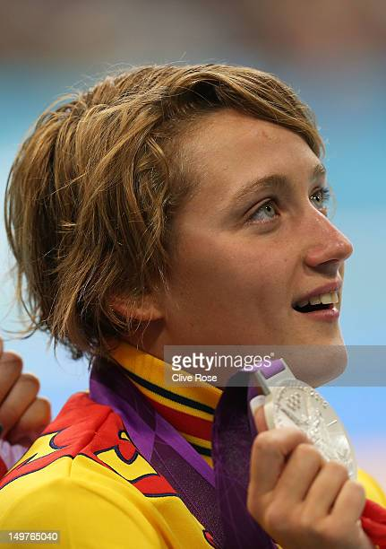 Silver medallist Mireia Belmonte Garcia of Spain poses on the podium during the medal ceremony for the Women's 800m Freestyle on Day 7 of the London...