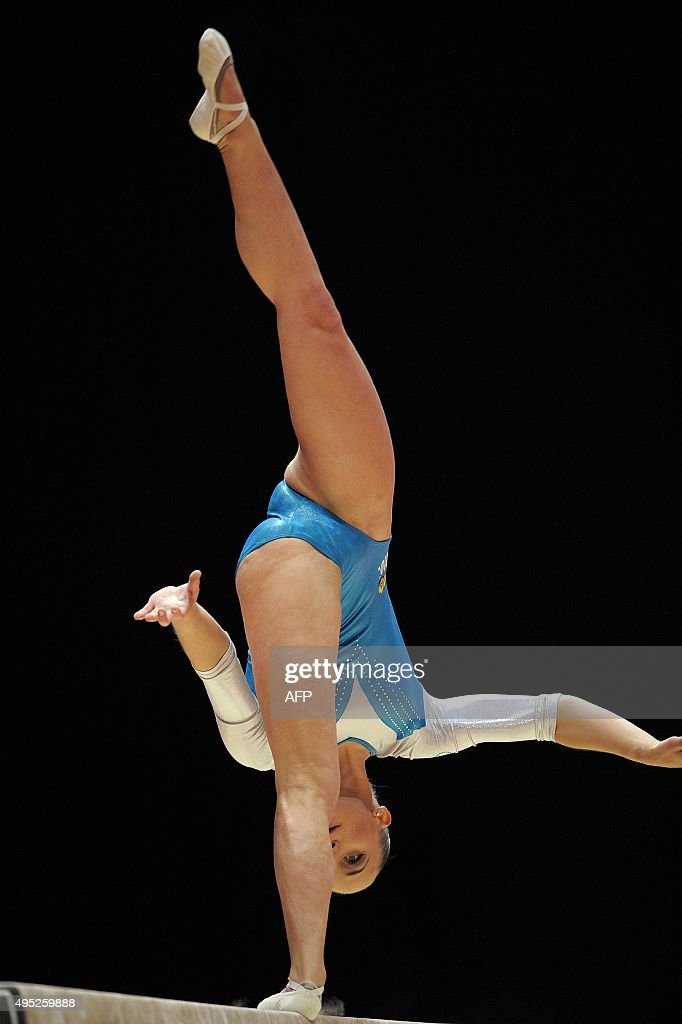 Silver medallist Netherland's Sanne Wevers performs during the Women's balance beam Final at the 2015 World Gymnastics Championship in Glasgow...
