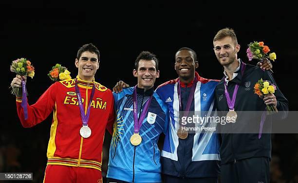 Silver medallist Nicolas Garcia Hemme of Spain Gold medallist Sebastian Eduardo Crismanich of Argentina Bronze medallists Lutalo Muhammad of Great...