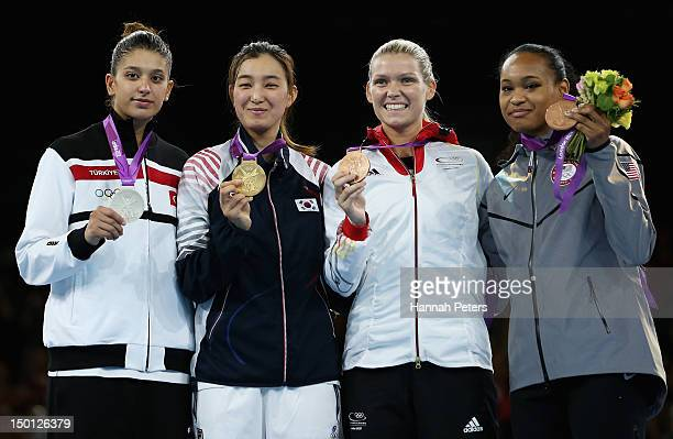 Silver medallist Nur Tatar of Turkey Gold medallist Kyung Seon Hwang of Korea and Bronze medallists Helena Fromm of Germany and Paige Mcpherson of...
