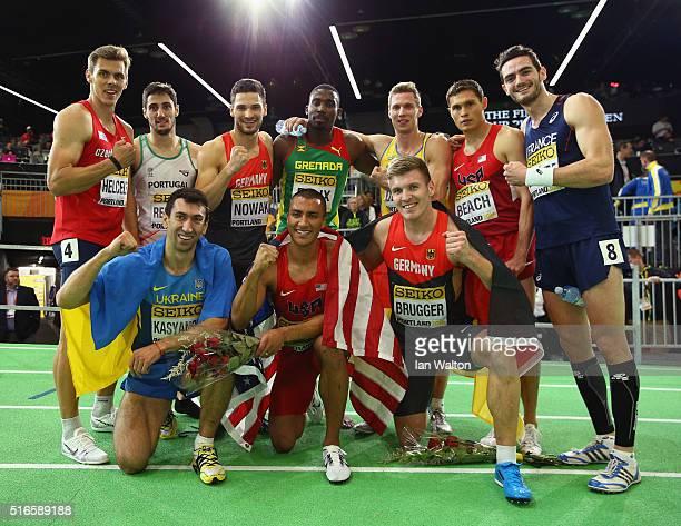 Silver medallist Oleksiy Kasyanov of Ukraine gold medallist Ashton Eaton of the United States and bronze medallist Mathias Brugger of Germany pose...