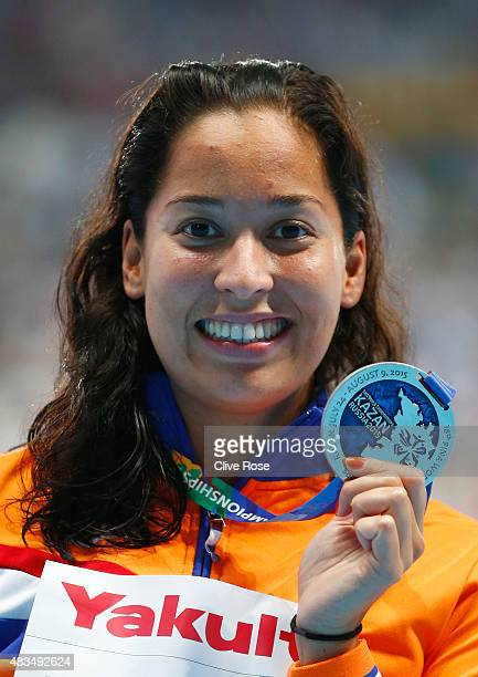 Silver medallist Ranomi Kromowidjojo of the Netherlands poses during the medal ceremony for the Women's 50m Freestyle Final during day sixteen of the...
